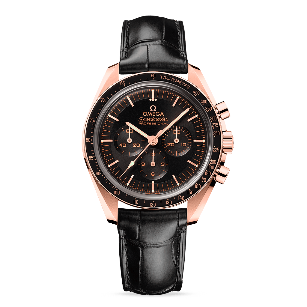 Omega Speedmaster Moonwatch Professional Master Chronometer Sedna™ gold Leather Strap
