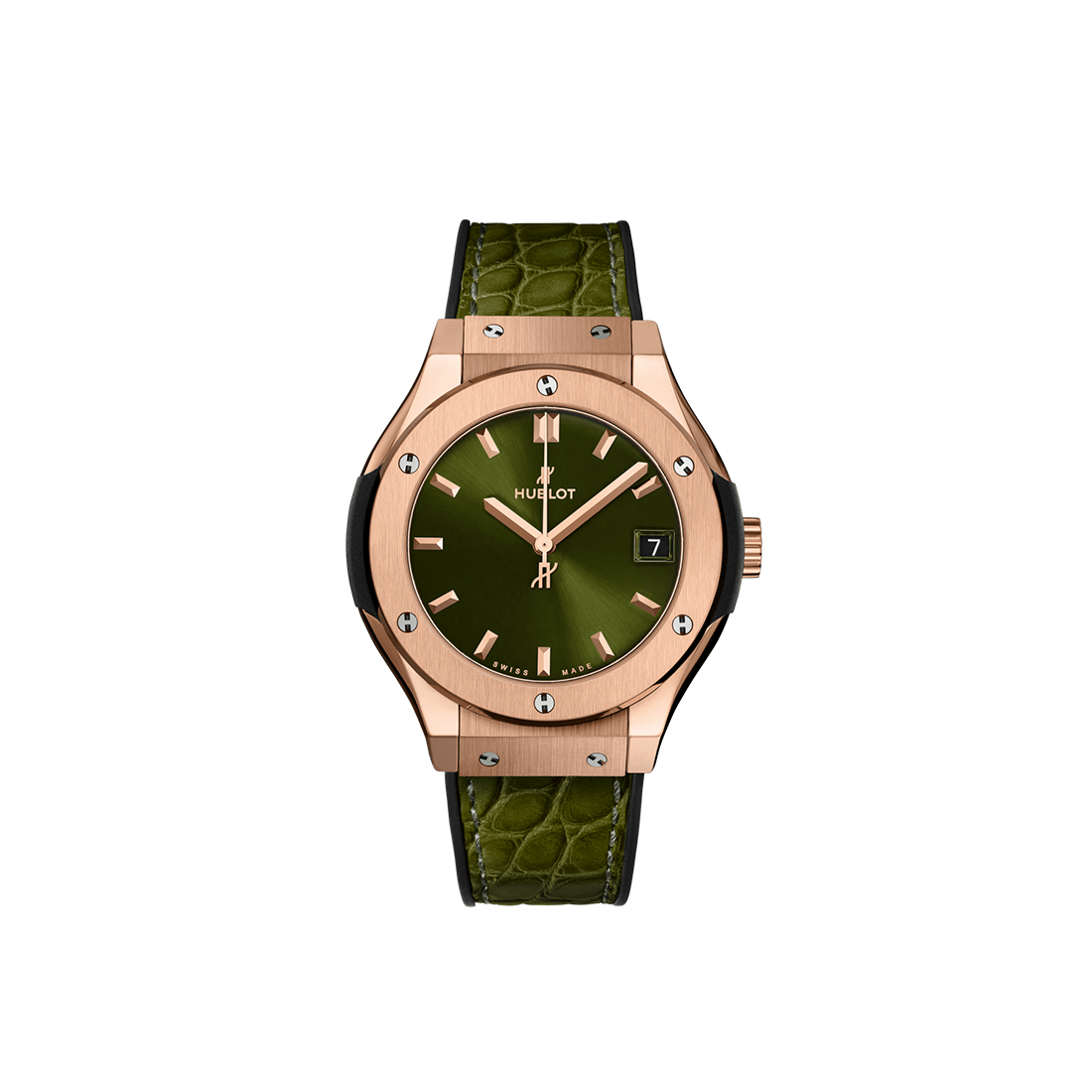 Hublot Classic Fusion Green King Gold Leather Strap 33 mm