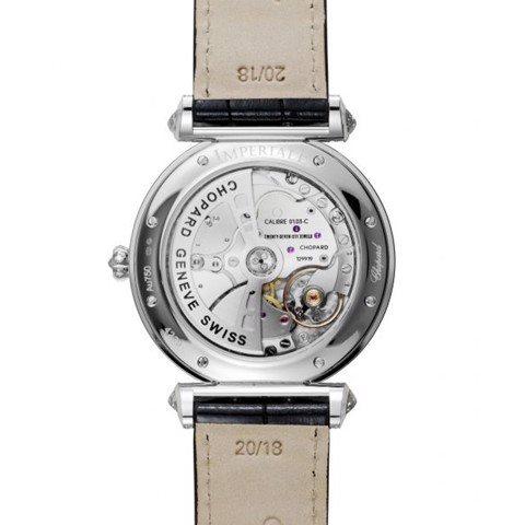 Chopard Imperiale Automatic Full Diamond White Gold Black Leather Strap 40mm