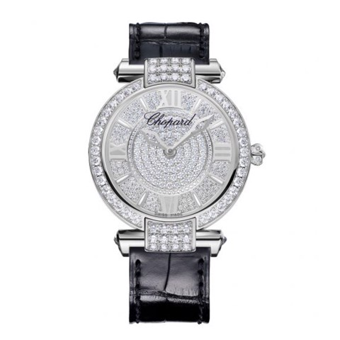 Chopard Imperiale Automatic Diamond White Gold Black Strap Diamond Dial 36mm