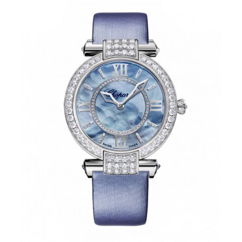 Chopard Imperiale Automatic Diamond White Gold Blue Strap MOP Dial 36mm