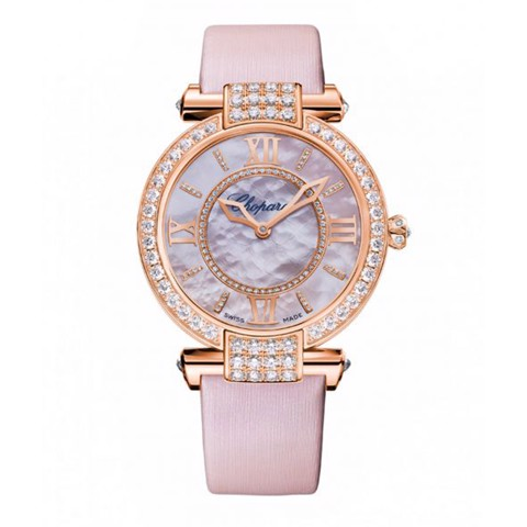 Chopard Imperiale Automatic Diamond Rose Gold Pink Strap Rose MOP Dial 36mm