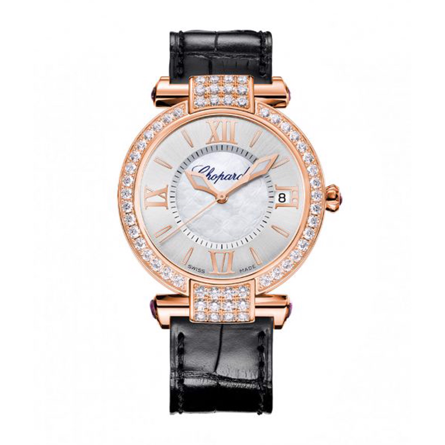 Chopard Imperiale Automatic Diamond Rose Gold Black Leather Strap 36mm