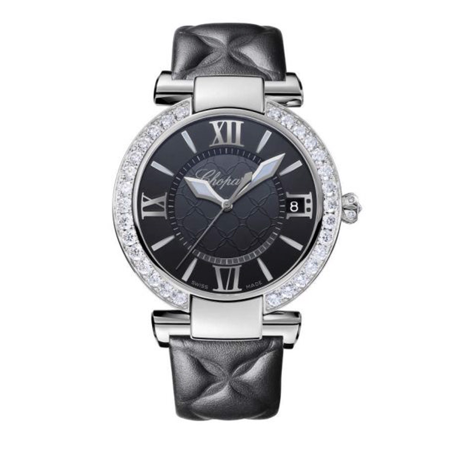 Chopard Imperiale Automatic Diamond Steel Black Leather Strap Black Dial 40mm