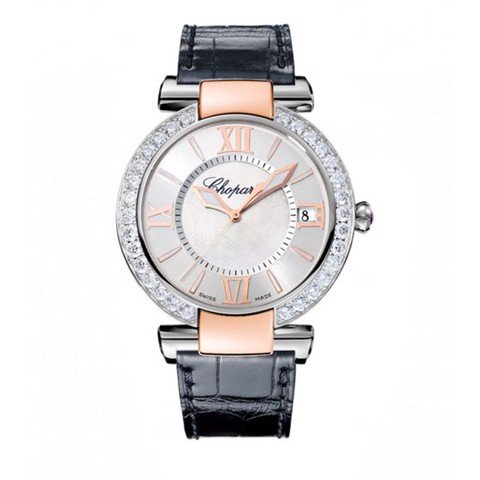 Chopard Imperiale Automatic Diamond Rose Gold - Steel Black Leather Strap 40mm