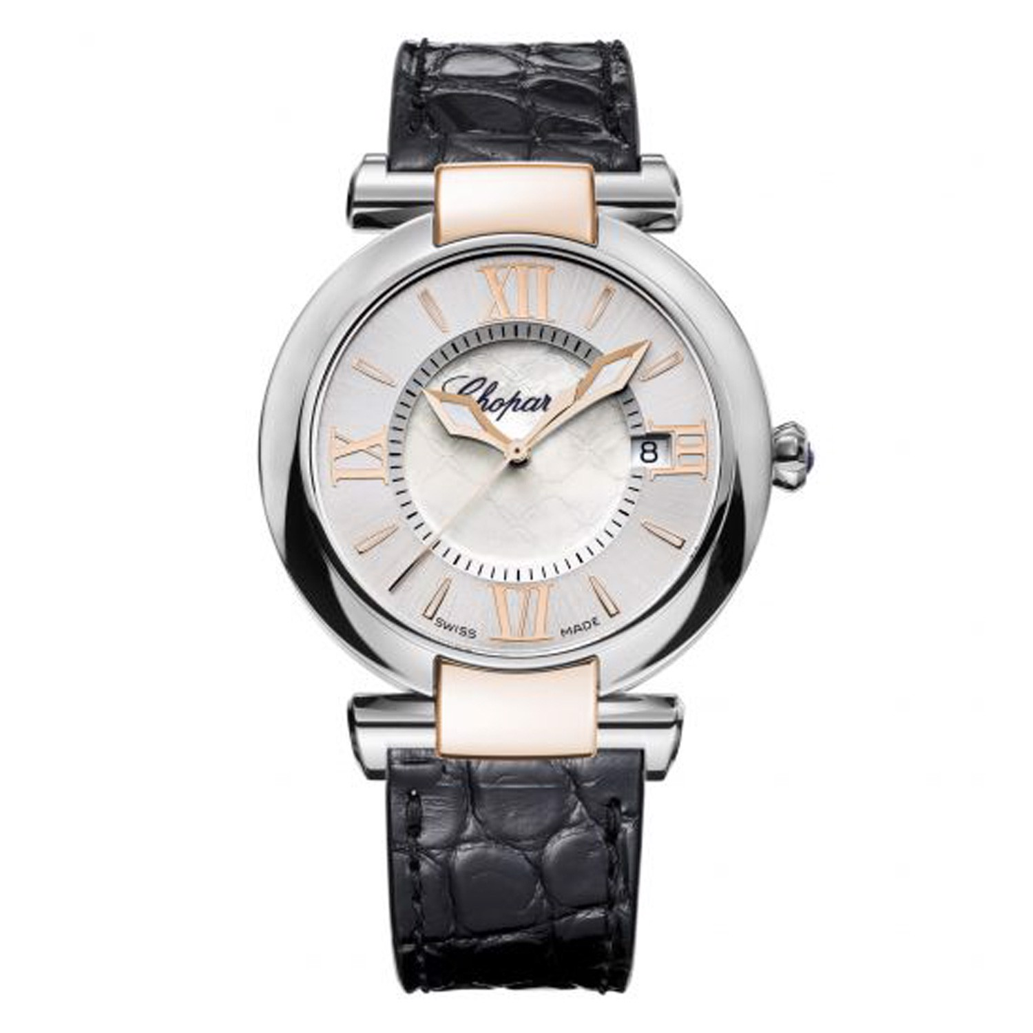 Chopard Imperiale Quartz Rose Gold - Steel Black Leather Strap 36mm