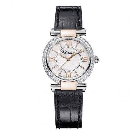 Chopard Imperiale Quartz Diamond Rose Gold - Steel Black Leather Strap 28mm