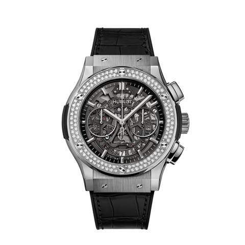 Hublot Classic Fusion Aerofusion Titanium Skeleton Chronograph Diamonds