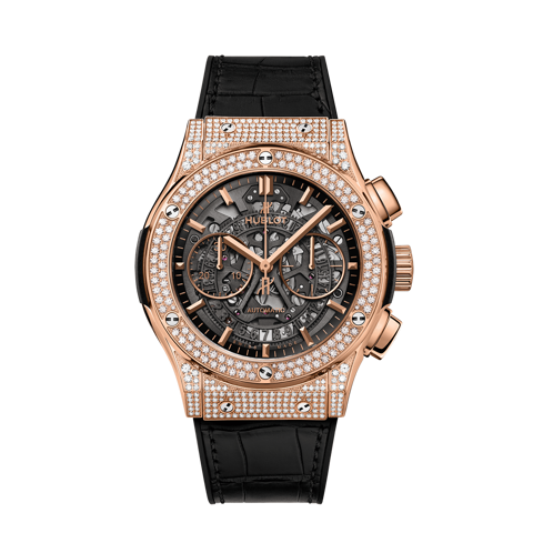 Hublot Classic Fusion Aerofusion King Gold Pavé Skeleton Chronograph