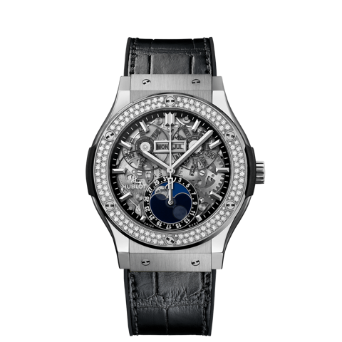 Hublot Classic Fusion Aerofusion Moonphase Titanium Diamonds