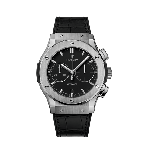 Hublot Classic Fusion Chronograph Black Titanium Leather Strap