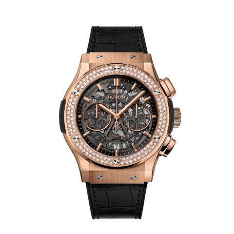 Hublot Classic Fusion Aerofusion King Gold Diamonds Skeleton Chronograph