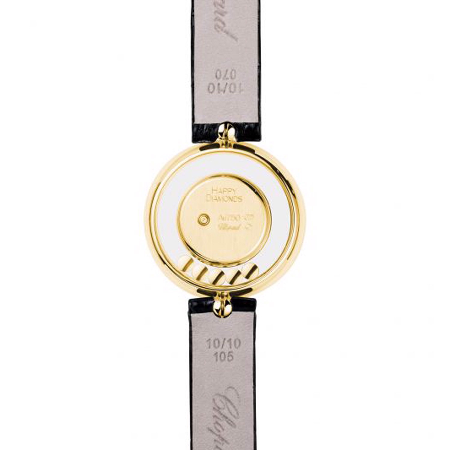 Chopard Happy Diamond Icon Yellow Gold Black Leather Strap 26mm