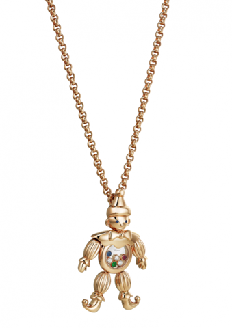 Chopard Happy Clown Pendant Rose Gold Diamond Ruby Sapphire Emerald