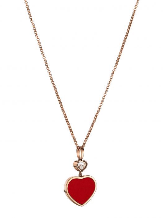 Chopard Happy Hearts Pendant Rose Gold Diamond - Red Stone