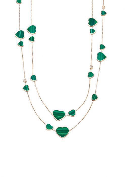 Chopard Happy Hearts Sautoir Necklace Rose Gold - Natural Malachite