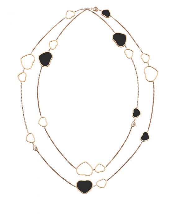 Chopard Happy Hearts Sautoir Necklace Rose Gold - Black Onyx