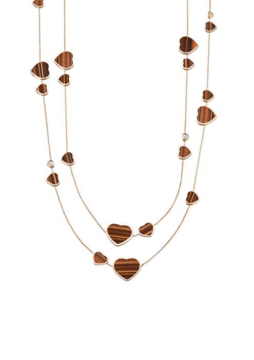 Chopard Happy Hearts Sautoir Necklace Rose Gold - Natural Tiger's Eye