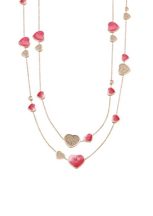Chopard Happy Hearts Sautoir Necklace Rose Gold Diamond - Pink MOP