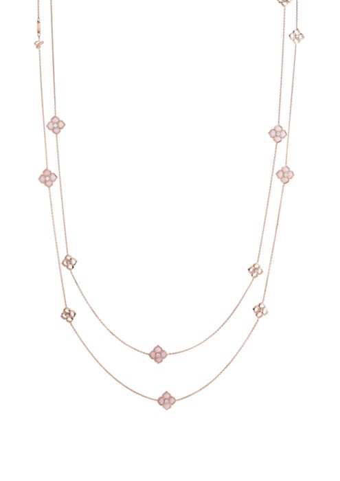 Chopard La Fleur Imperiale Sautoir Necklace Rose Gold, Diamond and Pink Opal