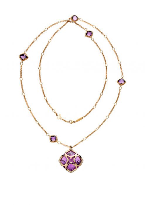 Chopard Imperiale Cocktail Sautoir Necklace Rose Gold Amethyst - Diamond