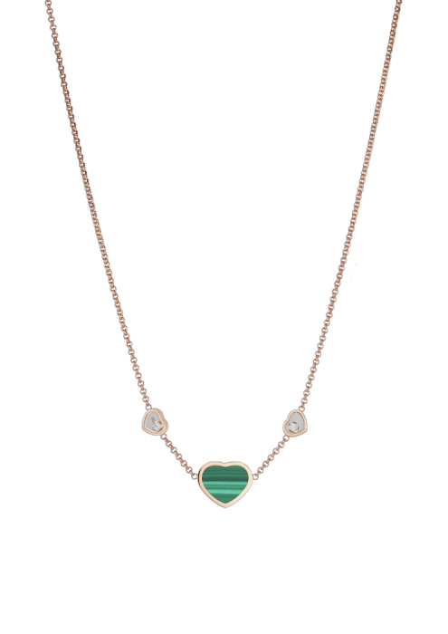 Chopard Happy Hearts Necklace Rose Gold Diamond - Malachite