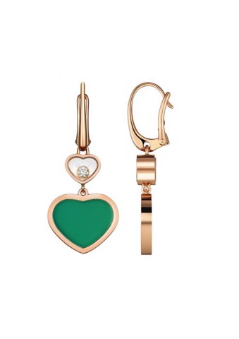 Chopard Happy Hearts Earrings Rose Gold Diamond - Green Agate