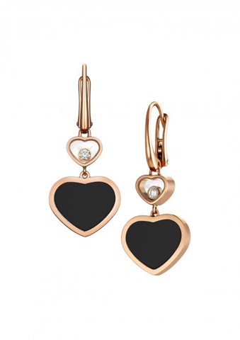Chopard Happy Hearts Earrings Rose Gold Diamond - Black Onyx