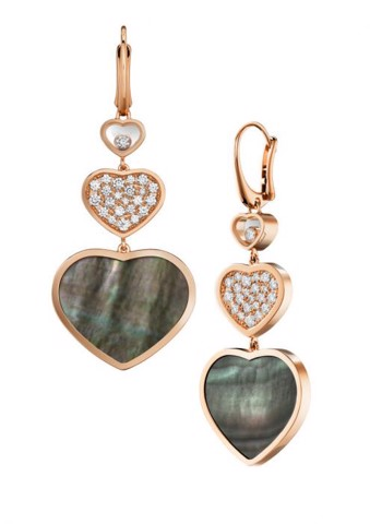 Chopard Happy Hearts Earrings Rose Gold Diamond - Black MOP