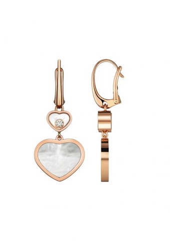 Chopard Happy Hearts Earrings Rose Gold Diamond - MOP