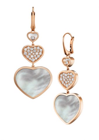 Chopard Happy Hearts Earrings Rose Gold Diamond - White MOP