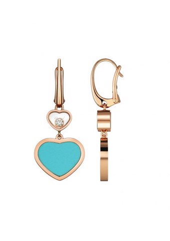 Chopard Happy Hearts Earrings Rose Gold Diamond - Turquoise Stone