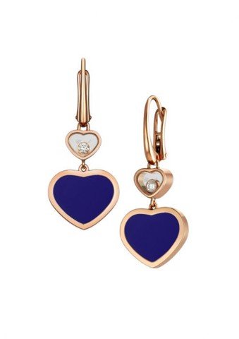 Chopard Happy Hearts Earrings Rose Gold Diamond - Blue Stone