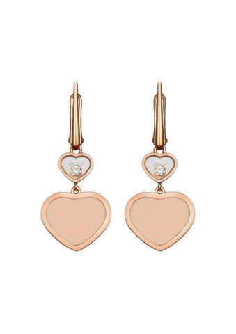 Chopard Happy Hearts Earrings Rose Gold Diamond - Rosé Stone