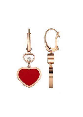Chopard Happy Hearts Earrings Rose Gold Diamond - Red Stone