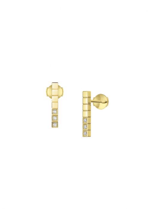 Chopard Ice Cube Pure Earrings Yellow Gold - Diamond