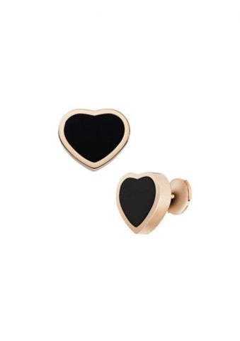 Chopard Happy Hearts Earrings Rose Gold - Black Onyx