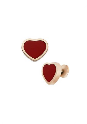 Chopard Happy Hearts Earrings Rose Gold - Red Stone