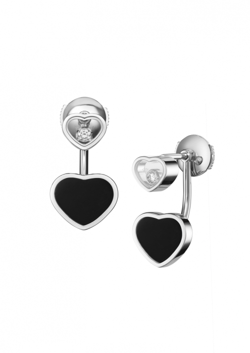 Chopard Happy Hearts Earrings White Gold Diamond - Black Onyx