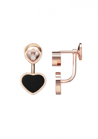Chopard Happy Hearts Earrings Rose Gold Diamond - Onyx