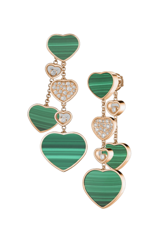 Chopard Happy Hearts Earrings Rose Gold Diamond - Malachite