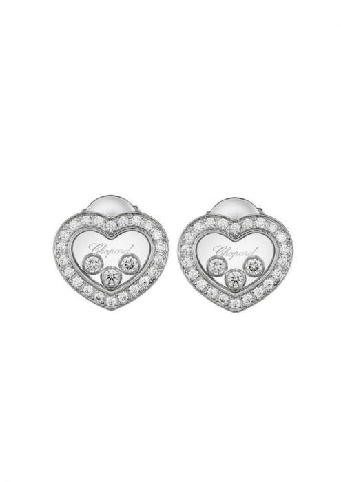 Chopard Happy Diamonds Icons Ear Pins White Gold - Diamond