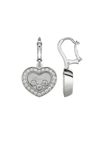 Chopard Happy Diamonds Icons Heart Dangle Earrings White Gold Diamond