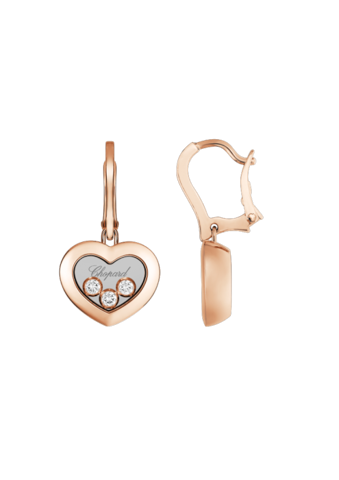 Chopard Happy Diamonds Icons Heart Dangle Earrings Rose Gold Diamond