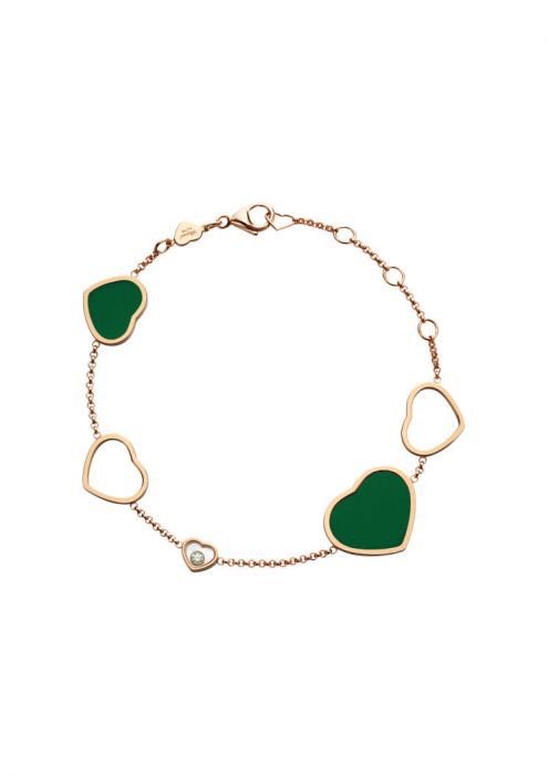 Chopard Happy Hearts Bracelet Rose Gold, Diamond and Natural Green Agate
