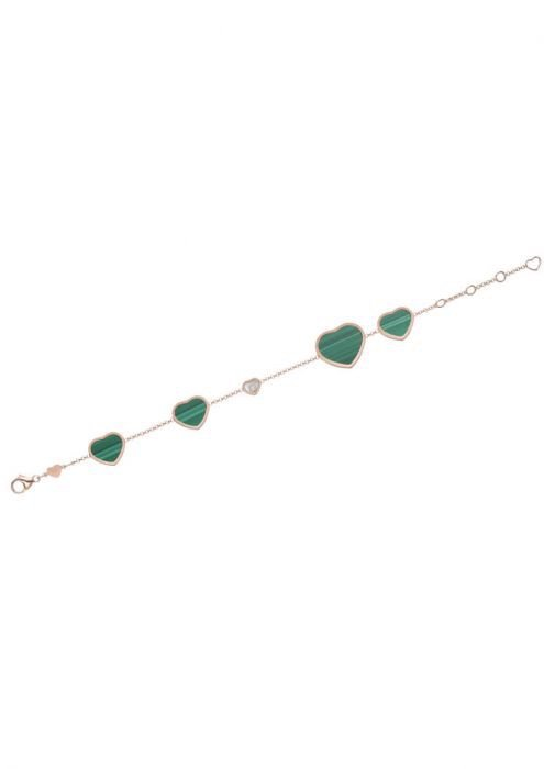 Chopard Happy Hearts Bracelet Rose Gold, Diamond and Natural Malachite