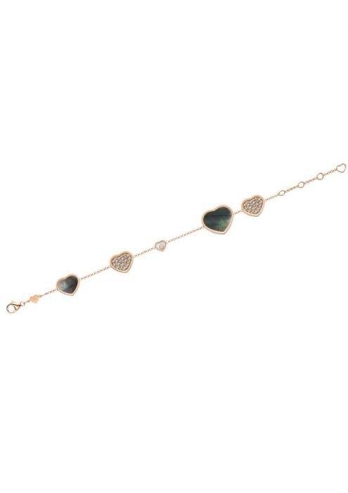 Chopard Happy Hearts Bracelet Rose Gold Diamond - Natural Black Tahitian MOP