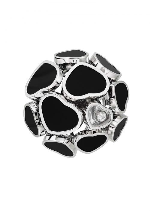 Chopard Happy Hearts Ring White Gold and Natural Black Onyx