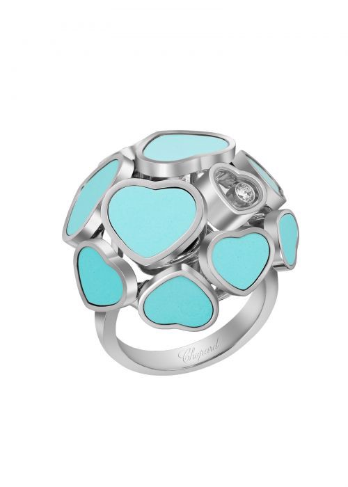 Chopard Happy Hearts Ring White Gold and Turquoise Stone