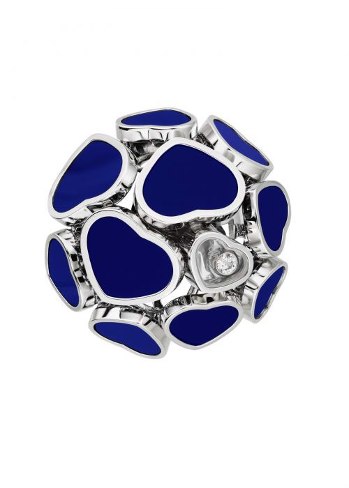 Chopard Happy Hearts Ring White Gold and Blue Stone